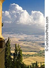Pienza - The beautiful view of Pienza, Tuscany, Italy....