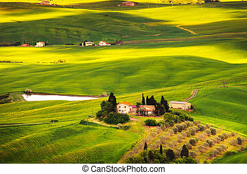 Pienza Val d Orcia, rural sunset landscape. Countryside farm...