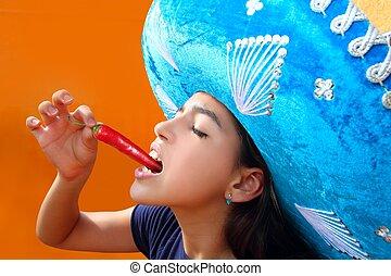 pieprz, meksykanin, gorący, jedzenie, dziewczyna, chili, czerwony