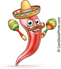 pieprz, ostry, meksykanin, czerwony, maskotka