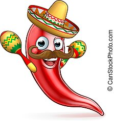 pieprz, ostry, meksykanin, rysunek, czerwony, maskotka