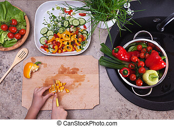 pieprz, pojęcie, jedzenie, sałata, dzwon, zdrowy, -, żółty, okazały, siła robocza, roślina