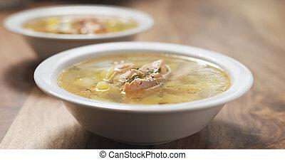 pieprz, przyprawa, fish, łosoś, zupa, drewno, closeup, stół