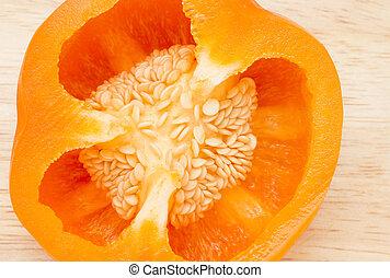 pieprz, wizerunek, do góry, pół, pomarańcza, zamknięcie
