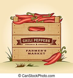 pieprzy,  Chili, paka,  retro