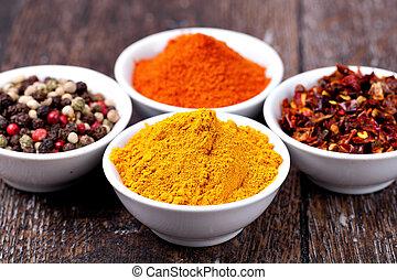 pieprzy, curry, przyprawy, zmieszać, papryka