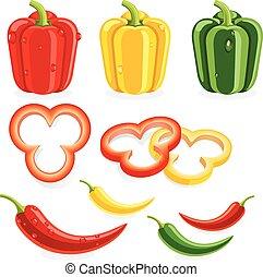 pieprzy, wektor, chilli., illustrations., dzwon
