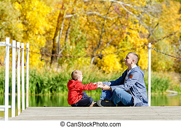 pier., 秋, 側, 父, 息子, sunny., 遊び, 光景