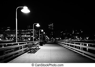 Pier 34 at night, on the Hudson River in Manhattan, New York...