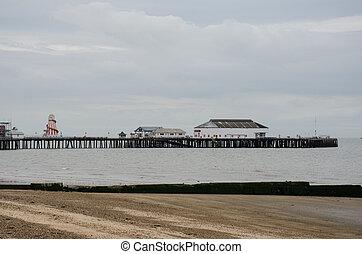 pier, an, strand, stadt, heraus, von, jahreszeit, clacton