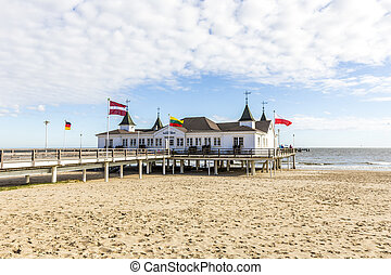 Pier and Beach of Ahlbeck at baltic Sea on Usedom...