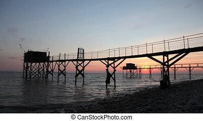 Pier and cabins for fishing in the atlantic ocean near La...