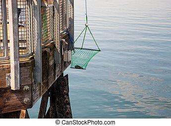 Pier and crab pot, Kayak Point