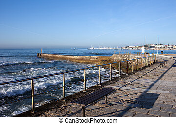 Pier and Promenade by the Atlantic Ocean in Cascais