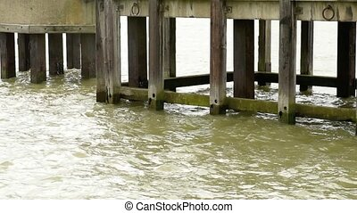 Pier and Water - Wooden Jetty Pier with Green River Water...