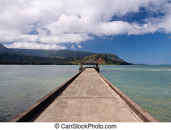 Pier at Hanalei Bay on Kauai - View down the pier at Hanalei...