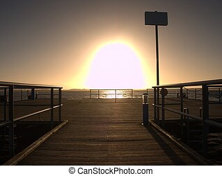 Pier at horizon goes into the misty sea. Dark atmosphere.