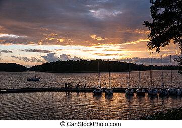 Pier at Kisajno Lake, Masurian Lake District in Poland.