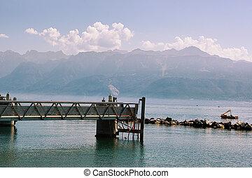 Pier at Lake Geneva promenade in Lausanne