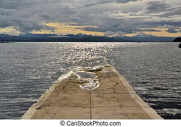 Pier at Lake Titicaca between Bolivia and Peru