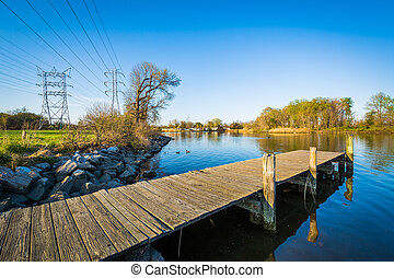 Pier at Merritt Point Park, in Dundalk, Maryland.