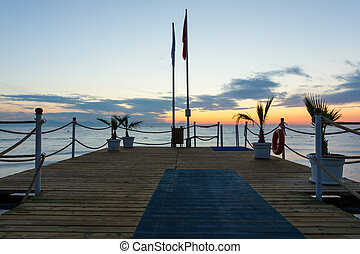 Pier at sunrise in Antalya