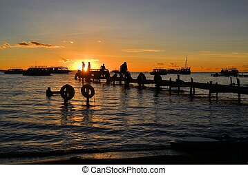 Pier at sunset in Copacabana, Titicaca lake