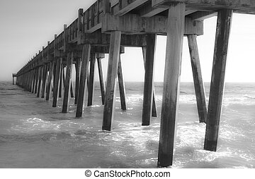 Pier at the Beach - Black and White