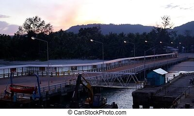 Pier before Sunrise. Beautiful Landscape. Palm Beach Early in the Morning.
