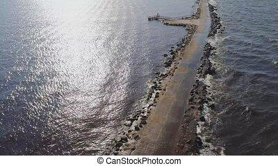 Pier breakwater jetty bulwark quay dam Riga Daugava Baltic Sea Drone flight