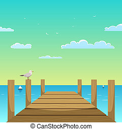 Cartoon illustration of the wooden pier with seagull.