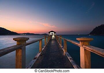 Pier during amazing sunset