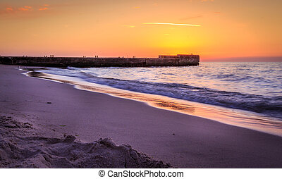 Pier during sunset