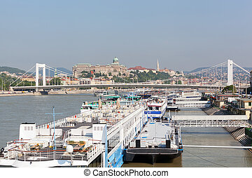 Pier for river cruise crafts on Danube in Budapest