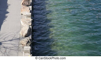 Pier from above, clear water