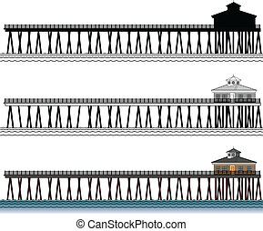 Illustration of a three piers in silhouette, in black and white lines and in color.
