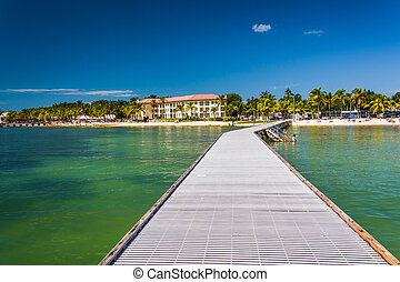 Pier in the Gulf of Mexico in Key West, Florida.