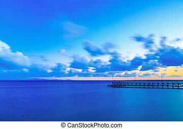 Pier in the sea at sunset, Ravda, Bulgaria.