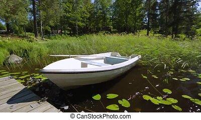 pier., nature, bois, magnifique, vide, solitaire, bateau,...