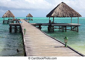 Pier of Hotel Melia Cayo Guillermo. Atlantic Ocean. Cuba.