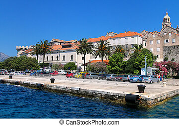 Pier of Korcula old town, Croatia