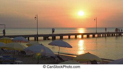 Pier on a Beach Resort at Sunset