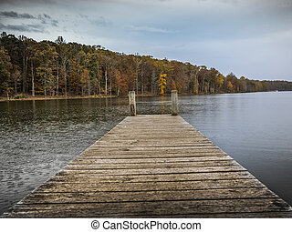 Pier on a lake in the autumn