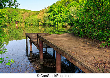 pier on forest Lake - wooden piere on the lake with...
