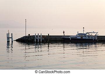 Pier on Lake Geneva; Lausanne; Switzerland