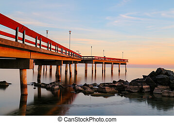 Pier on Lake Ontario at Sunset