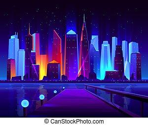 Pier on modern metropolis bay cartoon vector