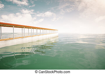 Pier on sky background side