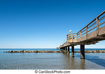 Pier on the Baltic Sea coast in Wustrow, Germany