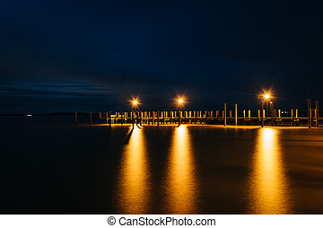 Pier on the Chesapeake Bay at night, in Havre de Grace, Maryland.